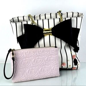 New Betsey Johnson  Pinstripe Tote Purse Cute